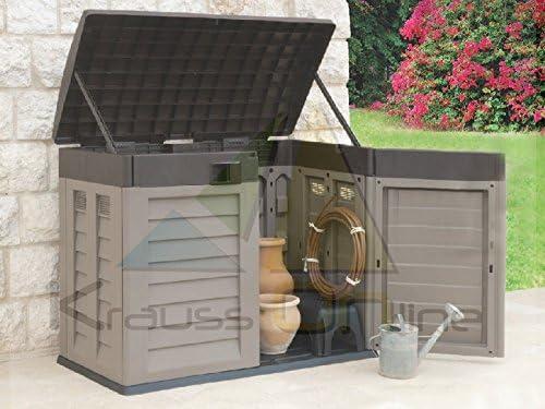 Baúl de resina con puerta superior y puertas delanteras - Moka/Marrón: Amazon.es: Jardín