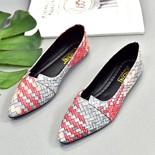 Soft Women Grey Shoes on Lightweight Stylish Slip Bottom Walking Flats Loafers Toe Pointed Lattice Ballet wtRqrtFg