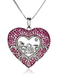Sterling Silver Pink Heart Floating Love with Swarovski Elements Pendant Necklace, 18""