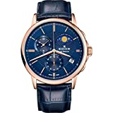 Edox Men's 'Les Bemonts' Swiss Quartz Stainless Steel and Leather Dress Watch, Color Blue (Model: 01651 37R BUIR)