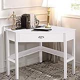 corner makeup vanity table Tangkula Corner Desk, Corner Computer Desk, Wood Compact Home Office Desk, Laptop PC Table Writing Study Table, Workstation with Storage Drawer & Shelves