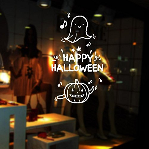 """LUNIWEI Happy Halloween 17*31"""" PVC Self Adhesive DIY Interior Room Creative Decoration Party Decal Wall Sticker"""