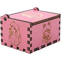 Akozon Caja de Música de Manivela de Madera Regalo de Cumpleaños Mecánico Artesanal Clásico(Sailor Moon Pink)