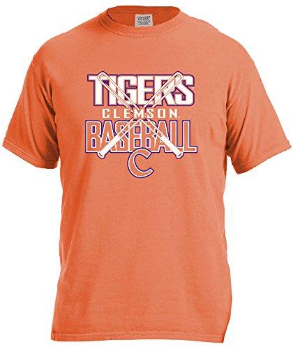 NCAA Clemson Tigers Baseball Bats Short Sleeve Comfort Color T-Shirt, Small,BurntOrange