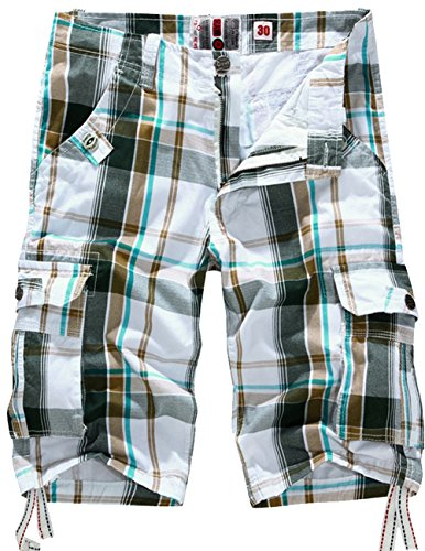 Menschwear Mens Cotton Cargo Shorts Multi Pockets Relaxed Fit with Belt (36,Coffee)