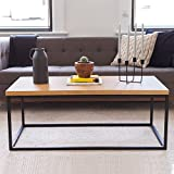 Wood and Metal Coffee Table Solid Wood Coffee Table - Modern Industrial Space Saving Couch Living Room Furniture - Sofa Table, Black Metal Box Frame, Natural Oak Finish