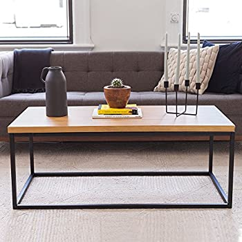 Attirant Nathan James 31102 Doxa Solid Wood Modern Industrial Coffee Table, Black  Metal Box Frame,