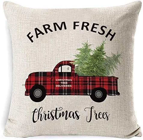 Amazon.com: Funda de almohada de lino con estampado navideño ...