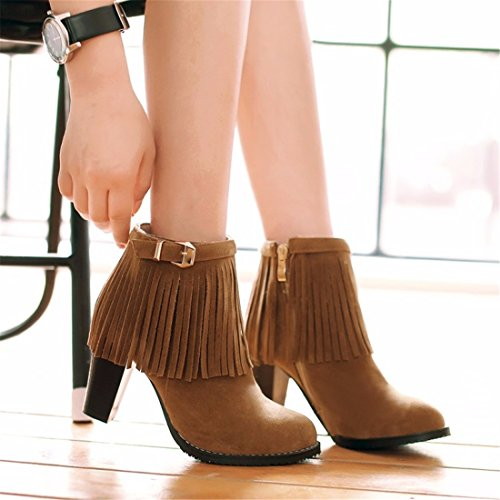RFF-Women's Shoes Large size shoes winter fashion tassel boots female short tube strap high-heeled boots Yellow Tlwmw