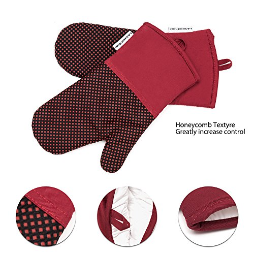 Silicone Oven Mitts 464 F Heat Resistant Potholders Dot Printed Cooking Gloves Non-Slip Grip for Kitchen Oven BBQ Grill Cooking Baking 1 pair 13 Inch (Purple) LA Sweet Home by LA Sweet Home (Image #4)