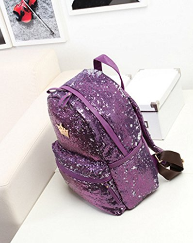 Amazon.com: Danse Jupe Shiny Sequin Backpack Fashion Crown School Bag Casual Travel Daypack(Purple): Danse Jupe