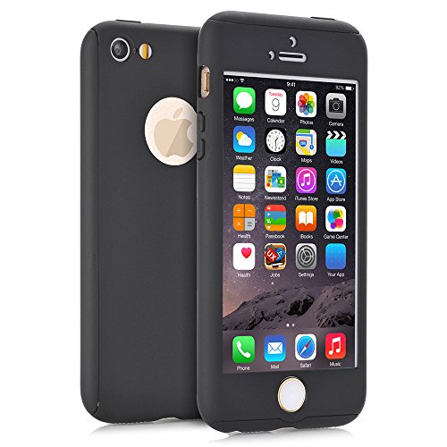 iPhone 5S Case, iPhone 5 Case, iPhone SE Case, NOKEA 360 Ultra Thin Full Body Coverage Protection Premium Matte Finish Dual Layer Hard Case Cover & Skin for Apple iPhone 5 5S SE (4.0-inch) (Black) (Iphone 5s Case Elephant Wood)