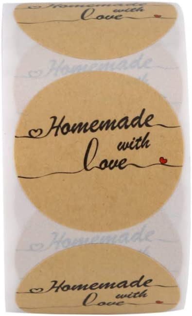 """500 Per Roll 1.5/"""" Homemade With Love Sticker Lines Writing Canning Labels Jars"""