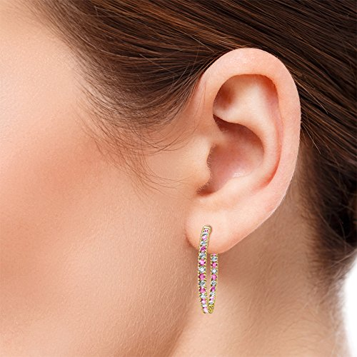 TriJewels Pink Sapphire and Diamond 2mm Inside-Out Hoop Earrings 1.85 Carat tw in 14K Yellow Gold