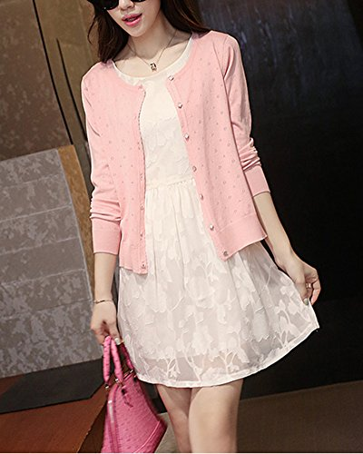 creuse Pink Femme de Cardigan conception Courte manteau chale Slim petit section qv5q0r1w