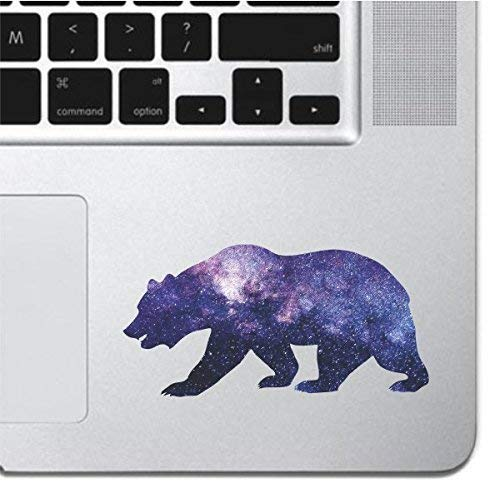 Cosmic Bear Laptop Sticker Keyboard, Keypad Vinyl Macbook Decal Sticker - Skin Track Pad MacBook Pro Air 13 15 17 iPad Laptop Decal iPad Sticker Grizzly Black Bear Silhouette