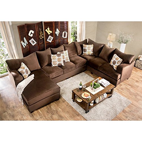 Furniture Of America Poirier Fabric Sectional In Chocolate Best Sofas Online Usa