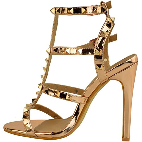 Metallic High Thirsty Rock Womens Size Barely Sandals Gold There Heel Stud Rose Shoes Fashion Party Stiletto aZtnqqUH