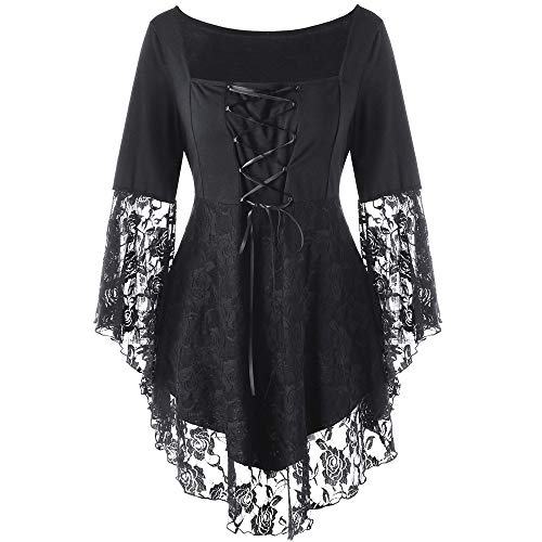 Wintialy Fashion Women Square Collar Floral Lace Up Patchwork Ribbons Blouse T-Shirt Top