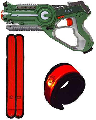DYNASTY TOYS Outdoor Games for Kids Laser Tag Blaster Toy for Camping W/Glow in the Dark Wristband (Green)