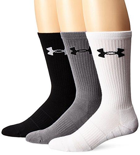 levated Performance Crew Socks (3 Pack), Steel Assortment, Large ()