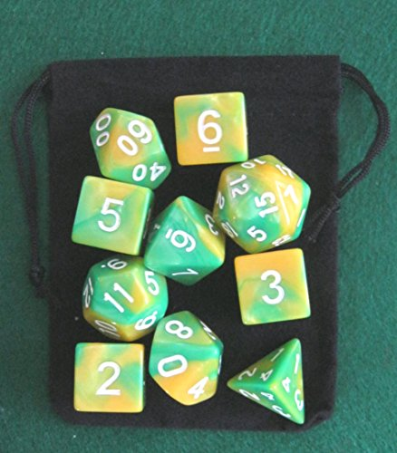 Dinosaur (Green / Yellow) RPG D&D Dice Set: 7 + 3d6 = 10 polyhedral die plus bag!