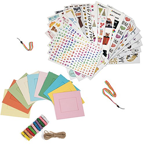 Holiday Accessory Gift Bundle FOR HP Sprocket, Prynt Instant Printer - 7 Fun Colorful Sticker Sets + 10 Hanging Frames Kit + Neck/Hand Strap