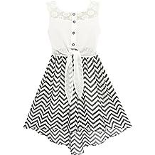 Girls Dress Lace To Chiffon Striped Black White Tied Waist