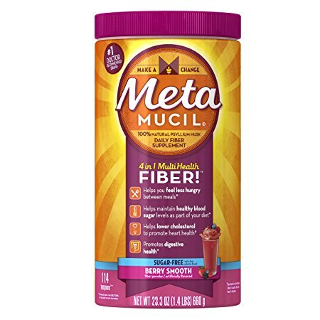 Metamucil Multi-Health Fiber by Meta, Berry Smooth Sugar Free 114 Teaspoons 23.3 Oz - Metamucil Multihealth Fiber
