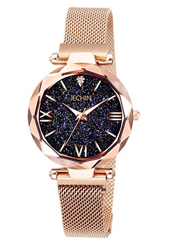 (Jechin Fashion Women's Rose Gold Wrist Watch Bling Starry Sky Magnetic Buckle Band Bracelet Watches)