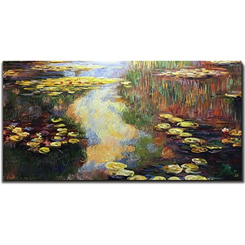 Set Painted Hand Bed (Amei Art Paintings, 24X48 Inch The Series of Water Lilies Paintings by Claude Monet Oil Hand Painting 3D Hand-Painted On Canvas Abstract Artwork Art Wood Inside Framed Hanging Wall Decoration Abstract)