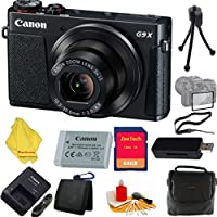 Canon PowerShot G9 X Digital Camera with 3x Optical Zoom, Built-in Wi-Fi and 3 inch LCD (Black)+ Case+64 GB Card+Reader + 6pc Starter Set