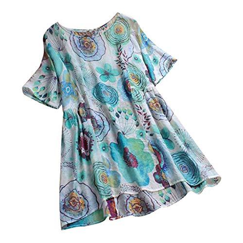 YKARITIANNA Fashion Woman Casual Cotton and Linen O-Neck Short Sleeve Tops T-Shirt 2019 Summer Blue