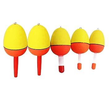 Dingbear 10pcs (50g, 40g, 30g, 20g, 15g) Flotador amarillo barrigón