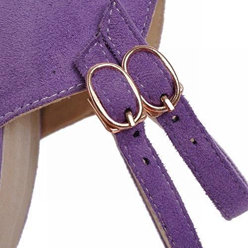 Carol Scarpe Chic Donna Eleganza Moda T-straps Fibbia A Punta Tacco Alto Sandali Con Tacco A Spillo Viola