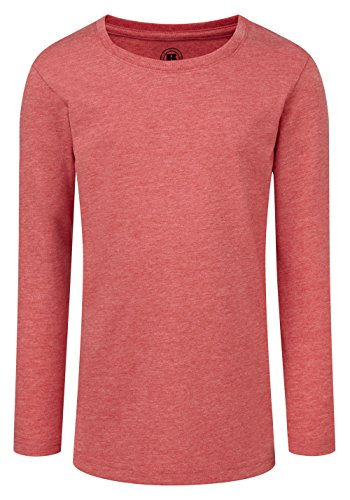 - Russell Childrens/Girls Long Sleeve HD T-Shirt (7-8 Years) (Red Marl)