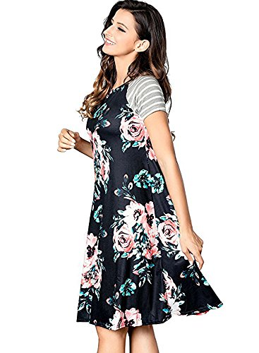Dresses Casual 1 Line Women's Poptem Beach T Print Midi A Shirt Short Black Summer Sundresses Ruffles Sleeve Loose Floral qBwfI7