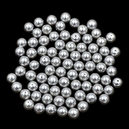 100 Grey Glass Pearl Beads 8mm Round Beads