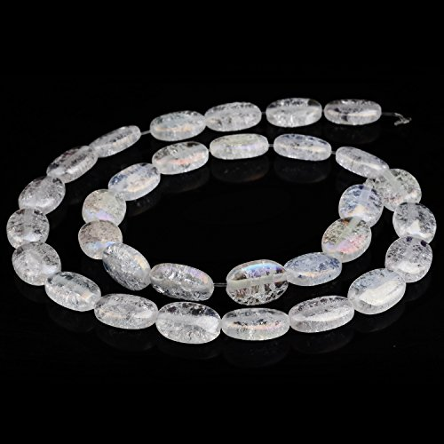 RUBYCA Natural AAA Grade Quartz Crystal Clear AB Flat Oval Crackle Beads Jewelry DIY (1 strand 12mm) (Flat Beads Oval Quartz)
