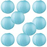 WYZworks Round Paper Lanterns 10 Pack (Light Blue, 8'') - with 8'', 10'', 12'', 14'', 16'' option
