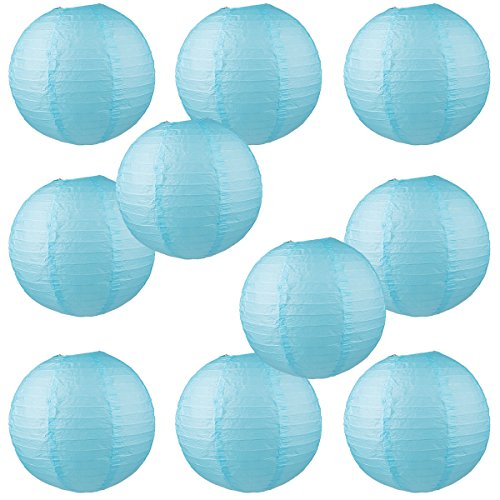 WYZworks Round Paper Lanterns 10 Pack (Light Blue, 10