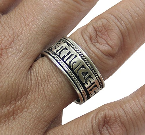 Tibetan Silver Buddhist Om Mani Ring