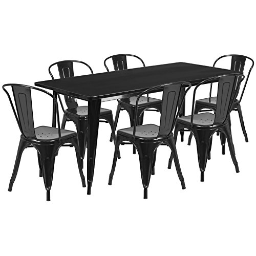 "Flash Furniture 31.5"" x 63"" Rectangular Metal Indoor-Outdoor Table Set with 6 Stack Chairs 511YE66vXQL"