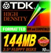 TDK 3.5In 1.44MB Pre-Fmt IBM Black Diskettes 10-Pack (Discontinued by Manufacturer)