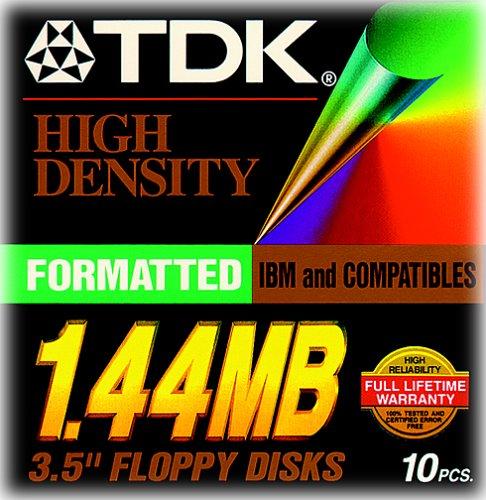TDK 3.5In 1.44MB Pre-Fmt IBM Black Diskettes 10-Pack (Discontinued by Manufacturer) by TDK