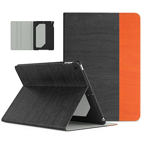 (MoKo Case Fit 2018/2017 iPad 9.7 6th/5th Generation - Premium Light Weight Shock Proof Stand Folio Cover Protector Compatible with iPad 9.7 Inch 2018/2017, Dark Gray & Orange(Auto Wake/Sleep) )