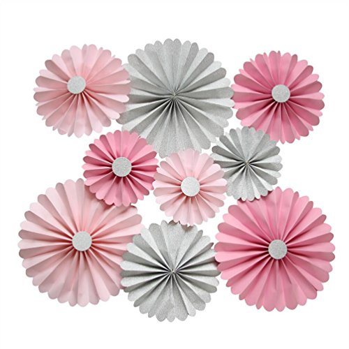Mybbshower Pink Silver Paper Rosettes Birthday Party Fan Candy Buffet Home Decor Pack of 9