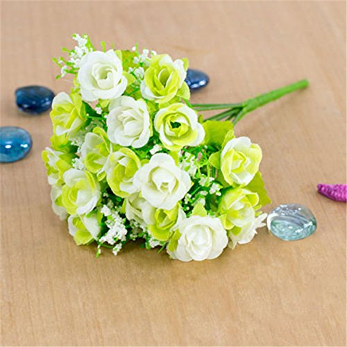 VIPASNAM-21 Head 1 Bouquet Artifical Silk Plastic Rose Flower For Home Wedding Decoration(color:white gb-CQ1613)