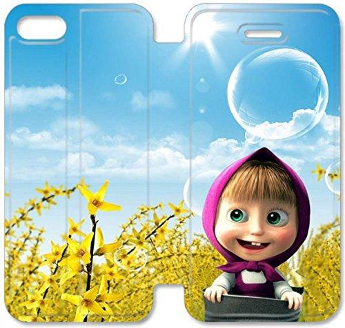 Klreng Walatina® Coque iPhone 6 6s Plus de 5,5 pouces Coque cuir Films Masha Ours Pc W6L3Gp