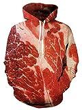 meat raw - Uideazone Men Women Raw Beef Meat Hoodie Funny Pullover Hooded Sweatshirt Top Plus Size